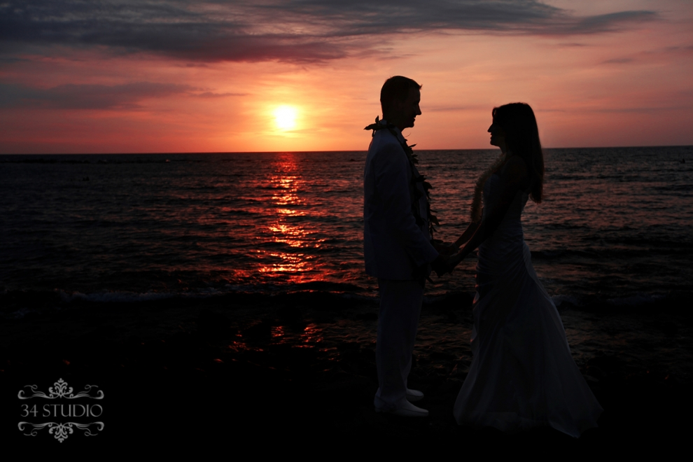 sunset and wedding portrait
